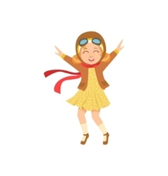 Little girl in vintage pilot leather outfit vector