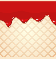 Melting strawberry jam on wafer texture vector