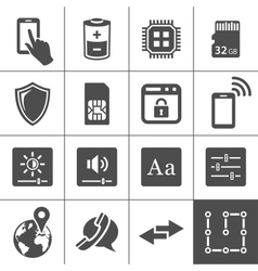 Mobile device settings icons vector image