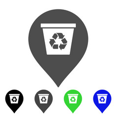 Recycle bin marker flat icon vector