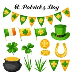 Saint Patricks Day objects Flag Ireland pot of vector image vector image