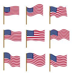 set of flags of united states of america isolated vector image vector image