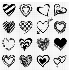 Set of heart shaped icons vector image vector image