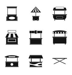 Street kiosk icon set simple style vector