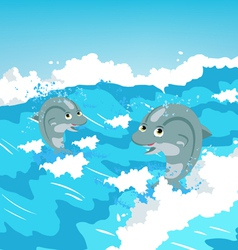Two jumping dolphins vector image