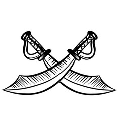 two pirate swords on white background vector image
