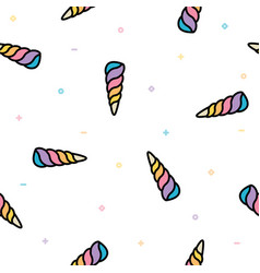 Unicorn horn seamless pattern pastel cute vector