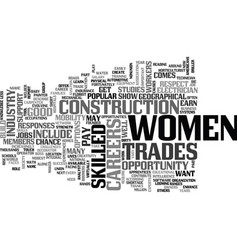 Women build up their careers text word cloud vector