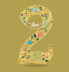 yellow number two with floral decor and necklace vector image vector image