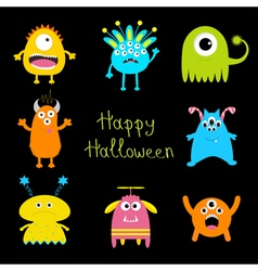 Happy halloween card colorful monster big set cute vector