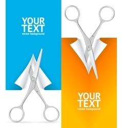 Scissor banner vertical set vector