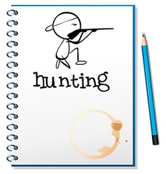 A notebook with a man hunting at the cover page vector image