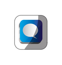 sticker color square 3d button with dialog box vector image