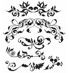 Set of decorative floral elements vector