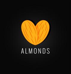 Almonds organic logo design background vector