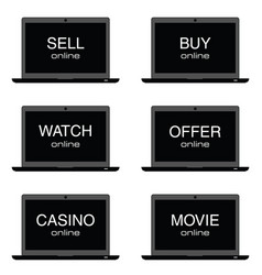 Sell online on laptop set vector