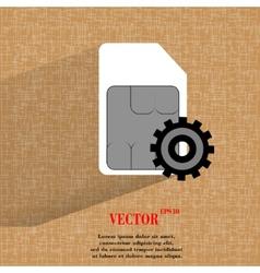 Sim card flat modern web button on a flat vector