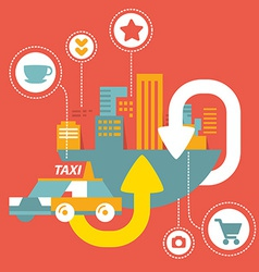 Taxi service in big city with icons vector