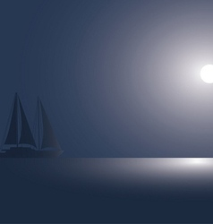 The yacht at the ocean against the coming sun vector