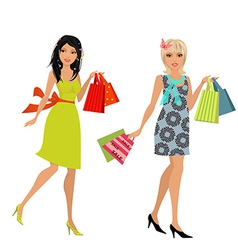 Fashion young women with purchase for your design vector
