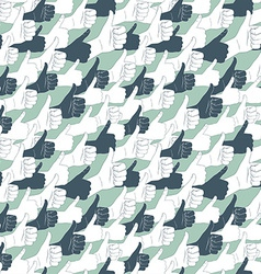 Thumbs up drawn by hands seamless pattern flat vector