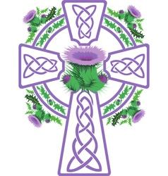 Stylized pink celtic cross framed thistle flowers vector