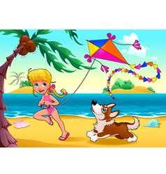 Funny scene with girl and dog on the beach vector