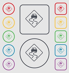 Road slippery icon sign symbol on the round and vector