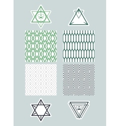 Set frames and icons of triangles on backgrounds vector