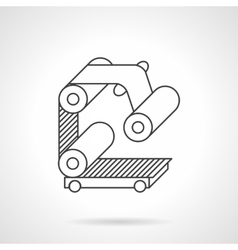 Roller conveyor flat line icon vector