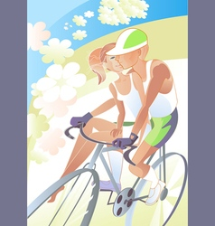 Cyclist girl vector