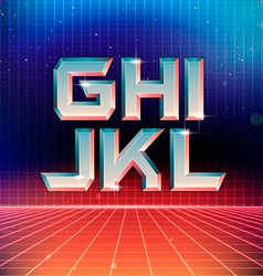80s Retro Futuristic Font from G to L vector image vector image