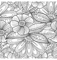 Seamless pattern with decorative flowers and leave vector