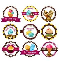 Set labels cupcakes vector