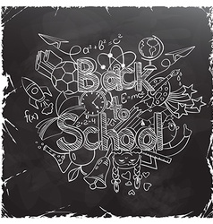 Back to School Scribbles on a Black Chalkboard vector image