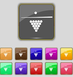 Billiard pool game equipment icon sign set with vector