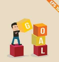 Cartoon businessman stacking goal box - - ep vector