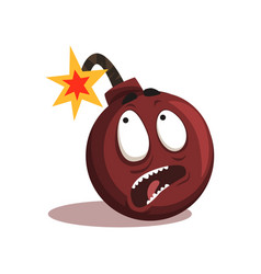 Cartoon emotion bomb with burning wick comic vector