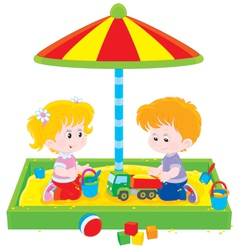 Children play in a sandbox vector