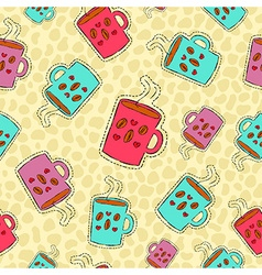 Coffee drink hand drawn patch icon background vector