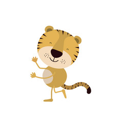 Colorful caricature with cute tiger dancing vector