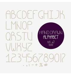 Decorative doodle alphabet bold font vector