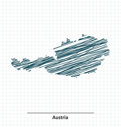 Doodle sketch of Austria map vector image vector image