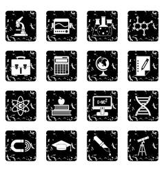 Education set icons grunge style vector