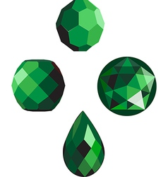 emerald green faceted beads vector image vector image