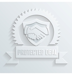 Handshake protected deal icon vector