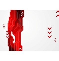 Hi-tech red abstract background with arrows vector