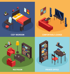 Living room concept icons set vector