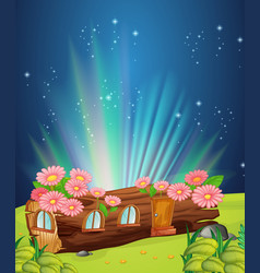 Log home at night vector