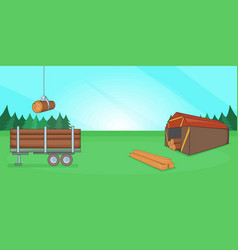 Logging banner horizontal cartoon style vector